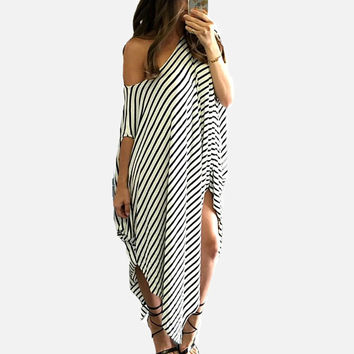 2017 Women New Summer Dresses Womens Boho Striped Asymmetrical Maxi Long Dress Beach Sundress Kaftan Plus Size S-3XL