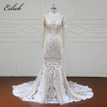 Eslieb Elegant Vintage Button Back Wedding Dress 2018 Long Sleeve Lace Wedding Dresses Mermaid Vestido de Noiva China