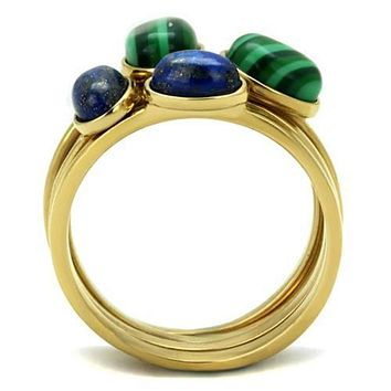 WildKlass Stainless Steel Ring IP Gold(Ion Plating) Women Synthetic Emerald