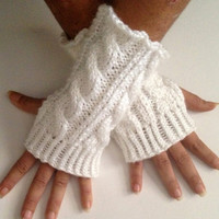 Fingerless Gloves Wrist Warmers in Snow Sparkle Handknit