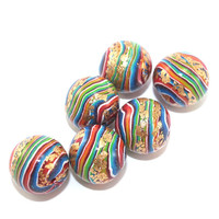 Round beads for Jewelry Making, beads in rainbow colors with gold touch, stripes beads, set of 6 colorful Polymer Clay beads