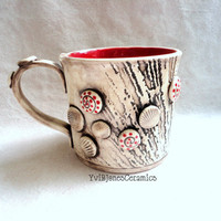 Red Shell Mug, Handbuilt Large Coffee Cup Pottery Mug, Ceramic Mug, Art, Tea, Milk, Cocoa 16 oz, hand crafted