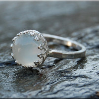 Moonstone Ring, Crown Bezel Set Moonstone Ring, Sterling Silver gemstone Ring, Cocktail Ring, Stacking Ring, Moonstone Engagement Ring