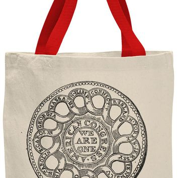 Austin Ink Apparel American Congress Seal Contrast Cotton Canvas Tote Bag