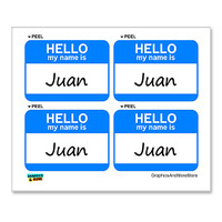 Juan Hello My Name Is - Sheet of 4 Stickers