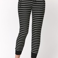 LA Hearts Striped Jogger Pants - Womens Pants - Black