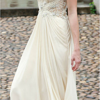 Ivory /  Cream Lace Sequin Rhinestone Chiffon Gown , Wedding Reception Formal Prom Evening Maxi Dress