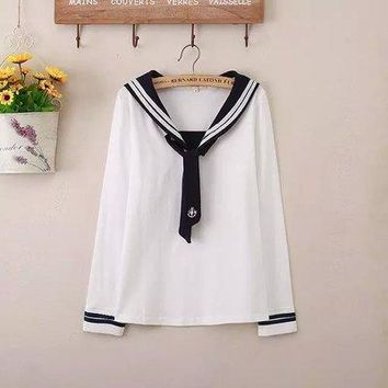 Sailor collar Long Sleeve Shirt Embroidery Tie Navy style Mori Tops Preppy style Classic White Student COS Women Fresh T-Shirt