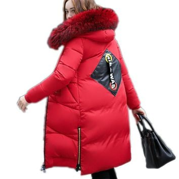 2017 winter women's coat new Korean red feather cotton clothing women long thick hair collar fashion Down jacket for women