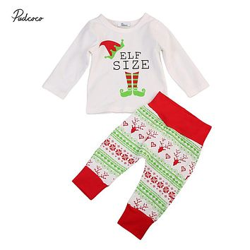 Baby Xmas Cotton Clothes Set Christmas Newborn Baby Boy Girl Top T-shirt Long Pants New Arrival Outfit Clothes Set