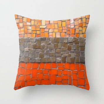 Decorative Pillow Cover, Throw Pillow, Home Decor, Orange, Rust, Tangerine, Mosaic, Photo Pillow Cover, Made To Order