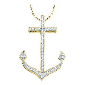 10KT Yellow Gold 0.15CTW DIAMOND ANCHOR PENDANT