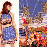 tropical print halter and wrap skirt // two piece set