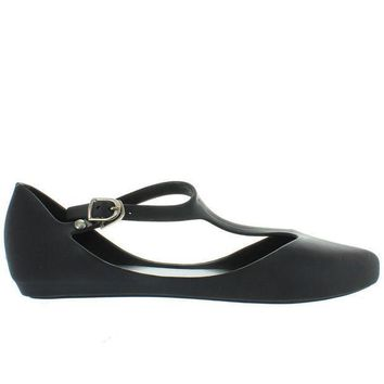 Makers Mint 1   Black T Strap Low Wedge Jelly
