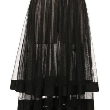 Tiered Sheer Maxi Skirt