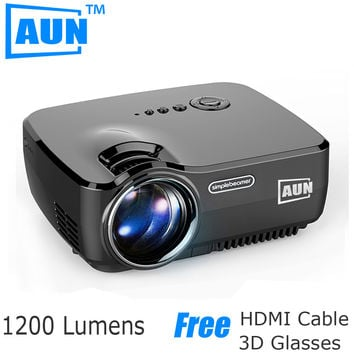AUN Projector 1200 Lumens Support 1920x1080P Analog TV LED Projector MINI Projector for Home Cinema A TV Cable AM01