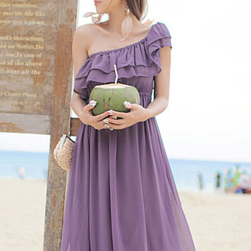 Fabulous Summer. Purple Chiffon Maxi Dress. Bohemian Ruffles Dress