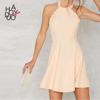 Haoduoyi Womens O-Neck Sleeveless Backless Sexy Party Solid Mini Dress Pleated Halter Short Girl Dresses