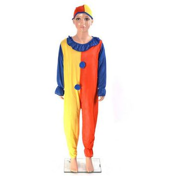Clown Cosplay Costumes Boys Girls Kids Baby Children's Day Halloween Suits Jumpsuits+Hat+Nose Costumes