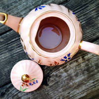 Pink Sandler Teapot, Handpainted with Gold, Blue Red Floral Accents