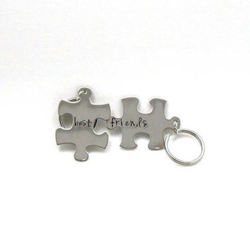 Best Friends Puzzle Keychain - Custom Keychain - Engraved Keychain - Puzzle Piece Keychain - Metal Keychain - Personalized Gift - BFF Gift