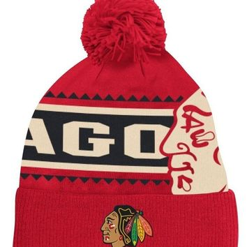 Chicago Blackhawks Reebok NHL 2014 Face-Off Cuffed Knit Hat w/ Pom