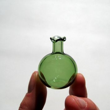 Miniature Vase in Green Hand Blown Glass by kivaford on Etsy
