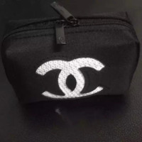 Chanel counter cosmetic bag with portable key purse White