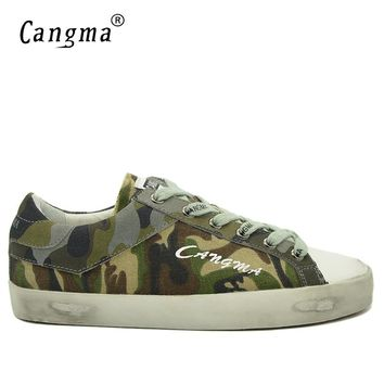 CANGMA Italy Brand Canvas Sneakers Men Shoes Breathable Mans Green Camouflage Shoes Male Lace Up Leisure Flats Autumn Footwear