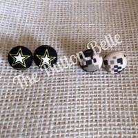 In the Army Now Cover Button Earrings Set