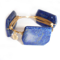Bourbon & Boweties Smooth Abstract Rectangle Blue & Gold Speckled Stone Bangle