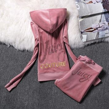 Juicy Couture Logo Velour Tracksuit 2128 2pcs Women Suits Pink-1