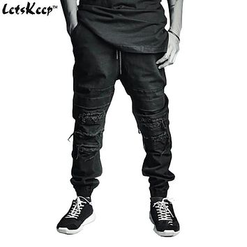 2016 LetsKeep Mens Ripped jogger jeans Ankle length biker jean Harajuku slim fit broken Knee rip pants with Drawstring,ZA165