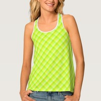 Green and yellow cross pattern tank top