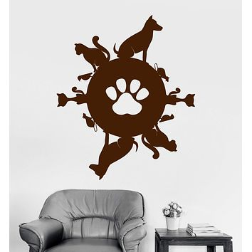 Vinyl Wall Decal Pet Planet Animal Shop Cat Dog Stickers Mural Unique Gift (ig3797)