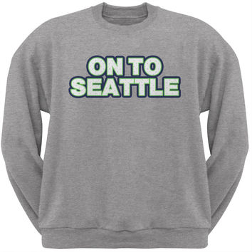 On to Seattle Heather Grey Adult Crew Neck Sweatshirt