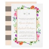 Hand-Painted Watercolor Floral & Gold Wedding Card