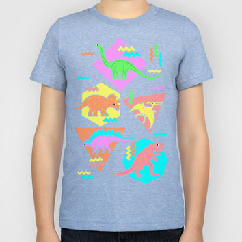 Nineties Dinosaur Pattern Kids T-Shirt by chobopop