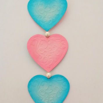 Hanging Heart decoration, die cut hearts, pink and blue. Reversible with beads and pink embroidery thread hanging loop
