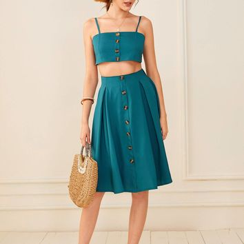 Button Front Tie Back Cami Top With Midi Skirt