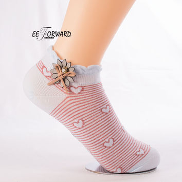 Novelty Short Socks Women Cotton 2017 Fashion Cute Floral Striped Print Heart 3D Art Design Casual Funny Kawaii Calcetines Mujer