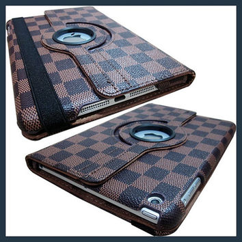 IPad 4 3 2 Cover Luxury Grid Pattern 360 Smart Rotating PU Leather Case ipad 4 ipad 3 ipad 2 - Brown