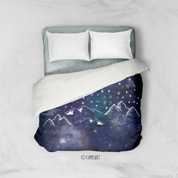 Duvet Cover, galaxy bedding, blue galaxy bedding, galaxy duvet cover, mountain duvet cover, space bedding, Bedding, Home Interior Decoration