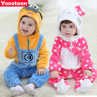 New winter spring Minion Hello kitty baby clothes Cartoon Animal Jumpsuit Baby Girl Rompers Flannel Baby Boy clothes costume