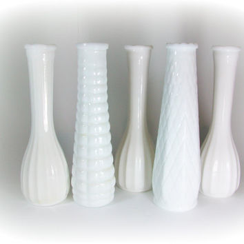 Milk Glass Vases Milk Glass Vase Set Milkglass by A2ndlifeVintage