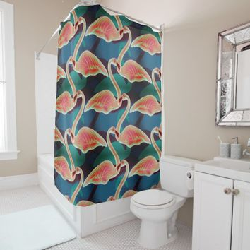 Vibrant multi color flock of swans in water shower curtain