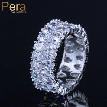 Pera High Quality Full Shinning AAA+ Pear Cut Shape Cubic Zirconia Mirco Pave Big Engagement Party Ring Jewelry For Women R075