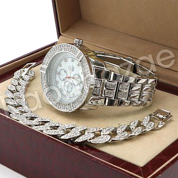 Hip Hop 14K White Gold PT Savage Watch Cuban Chain Bracelet Set F43S