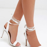Turn It Up White Leg Wrap Heels
