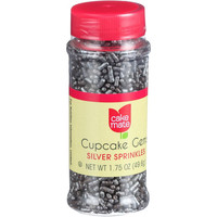 Cake Mate Decorating Cupcake Gems - Silver Sprinkles - 2.2 oz - Case of 6
